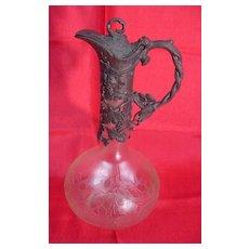 WMF Pewter & Acid Cut Glass Ewer