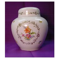Hutschenreuther Lidded Jar...handpainted w/ Flowers