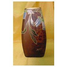 Art Nouveau Mottled Art Glass Vase by LEGRAS...Enameled