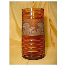 Large Amber Moser Vase...'Animor' Cameo Series...Signed