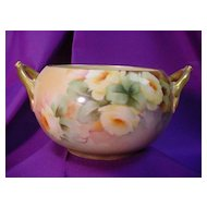 Willets Belleek Handled Bowl ptd. w/ Yellow Roses...