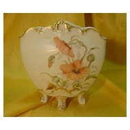 Limoges Footed Cache Pot...Hd. Ptd. with Poppies...