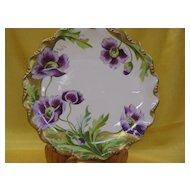 Limoges Purple Poppy Plate