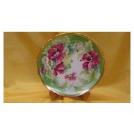 Limoges Hand Painted Poppies and Daisies Plate