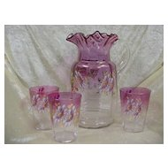 Very Old Rubina Glass 4pc. Pitcher Set...