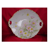 Limoges Cake Plate Hd. Painted w/ Wild Roses...