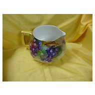 Artist signed Limoges Cider Pitcher...Hand Ptd. w/ Grapes