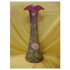 Bohemian Art Glass Vase...Enameled Design...