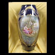 Tall Limoges Cobalt & Gold HP Portrait Vase...ca. 1920's