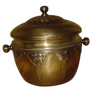 1900 German WMF Art Nouveau Brass Lidded Ice Bucket...Strawberry Design