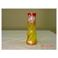 Bohemian Enameled Amberina Glass Vase