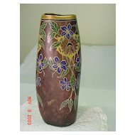 Mottled Glass Vase...LEGRAS...Full Enameled Decoration