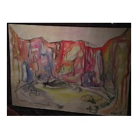 Jewish art signed watercolor landscape painting of Israel