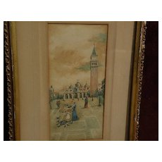 Italian art Venice watercolor Grand Tour painting circa 1890's