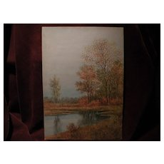 English watercolor painting autumn trees by a pond signed SYDNEY COOPER