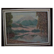Northwest American art impressionist autumnal painting of volcano reflected in lake signed