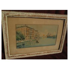 Italian art late 19th or early 20th century signed Venice canal watercolor painting