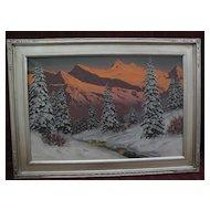 HANS BARMA (1903-) German or Austrian alpine winter mountain scene painting in the style of Lazslo Neogrady
