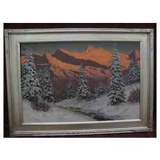 HANS BARMA (1903-) German or Austrian alpine winter mountain scene painting in the style of Lazslo Neogrady