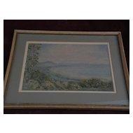 New Zealand art original watercolor by noted New Zealand artist CRANLEIGH BARTON (1890-1975)