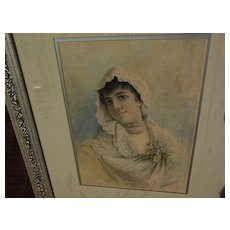 FEDERICO FERNANDEZ Y JIMENEZ (1841-c1910) Spanish art watercolor painting of young woman