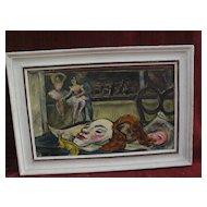 "WPA era Pittsburgh Pennsylvania painting by PERRY DAVIS ""Rehearsal"""