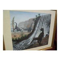 Natural History original art detailed prehistory dinosaurs painting by English artist RICHARD BIZLEY (1959-)