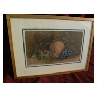 American art watercolor painting vintage 19th century still life of fruit