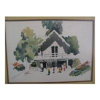 JAKE LEE (1915-1991) California Scene school watercolor art painting of house and figures