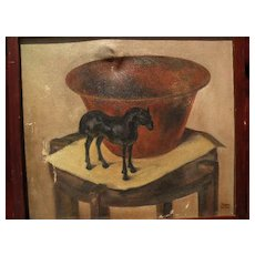 American still life painting, signed and dated 1935