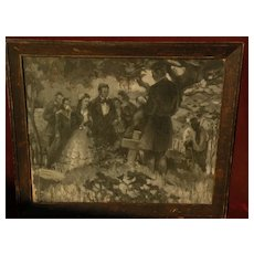 American illustration art vintage signed oil painting en grisaille circa 1920s or 1930s