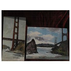 TED CHRISTENSEN (1911-1998) listed California art PAIR of paintings of the Golden Gate Bridge in San Francisco