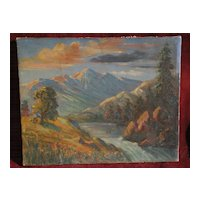 Vintage oil mountain American landscape painting circa 1940s