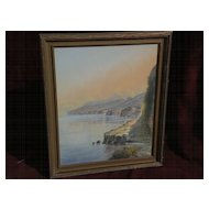 GIOVANNI BATTISTA (1858-1925) Italian gouache painting extensive coastal landscape probably Amalfi or Sorrento