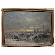 ADOLF STADEMANN (1824-1895) German art fine oil painting ice skaters at sunset by well listed artist