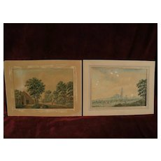 PAIR of circa 18th century Dutch detailed watercolor landscape drawings, subject identified as Amersfoort