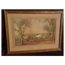 Fine English monogram signed watercolor landscape of the Thames River dated 1874
