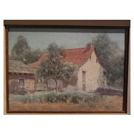 JAKOB KOCH (1876-1962) vintage California art watercolor painting of an early adobe house with orange tree