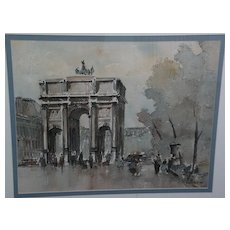 JULES ADLER (1865-1952) French art watercolor and ink drawing of Parisian scene by well listed artist