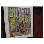 ROBERT LEE ESKRIDGE (1891-1975) Hawaiiana watercolor painting of male figures in a beach landscape