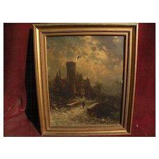 GEORGE HERBERT MCCORD (1848-1909) American art 19th century nocturne scene oil painting