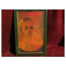 EDWARD REEP (1918-2013) signed modernist painting of a woman by noted mid century California artist