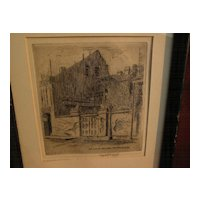 JAMES CARL HANCOCK (1898-1966) Southern American art New Orleans Louisiana etching print by Arkansas artist