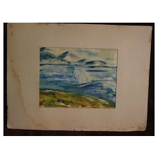 BURR SINGER (1912-1992) California watercolor painting of sailboats dated 1953 by well listed social realist artist