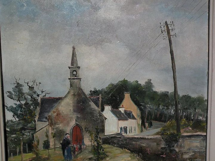 FRANCIS LE COADIC 1912 French Art Charming Painting Of A Country Church In