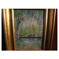 Southern regionalist art impressionistic landscape oil painting