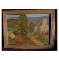 Impressionist American painting of a landscape signed E.E. Miller and dated 1932