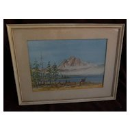 Western American watercolor painting of a doe and faun in a mountain landscape dated and signed