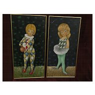 Big Eyed School **PAIR** of paintings of young girl in harlequin attire