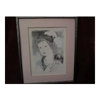 "MARIE LAURENCIN (1885-1956) French 20th century art original lithograph ""Boubou"" 1931"